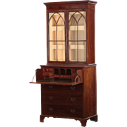 English George III Period Mahogany Antique Bookcase Secretary Desk