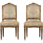 Pair of 19th Century French Antique Side Chairs w/ Gold Polychromed Surface