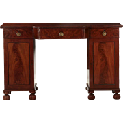 Fine English Figured Mahogany Antique Sideboard, Mid 19th Century