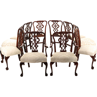 Set of Ten Chippendale Style Antique Dining Chairs, 19th Century