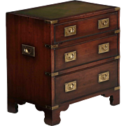 Campaign Style Leather and Brass Chest of Drawers, England, 20th Century
