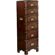 Campaign Style Mahogany and Brass Six-Drawer Tall Chest Cabinet