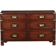Vintage Campaign Style Mahogany and Brass Side-by-Side Cabinet Chest