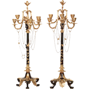 Pair of French Empire Style Bronze Six-Light Candelabra, 19th Century