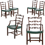 Set of Six English Georgian Carved Mahogany Antique Dining Chairs, 19th Century
