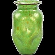 Art Nouveau Green Art Glass Vase attr. Loetz