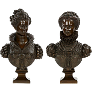 Pair of Renaissance Bronze Busts after Mathurin Moreau c. 1870