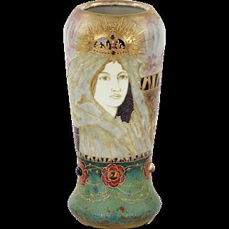 Art Nouveau Amphora Fairy Tale Princess Vase by Rissner, Stellmacher & Kessel