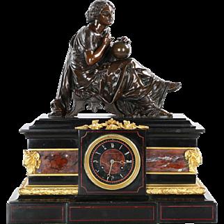 J.E. Caldwell Antique Mantel Clock w/ Bronze Sculpture of Cartographer