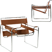 Pair of Breuer Wassily Arm Chairs in Original Leather c. 1980