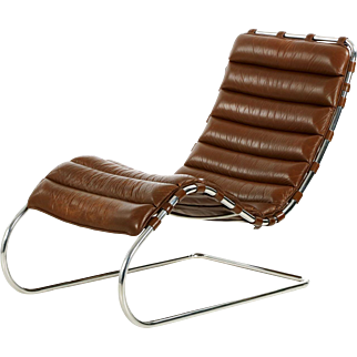 Vintage Mies van der Rohe for Knoll MR Chaise in Original Leather c. 1980