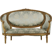 French Louis XVI Style Canapé with Carved Giltwood
