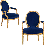 French Louis XVI Period Pair of Carved Giltwood Fauteuils, c. 1780