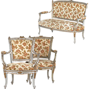 French Louis XV Style Painted Parlor Suite of Settee with Two Fauteuils, Vintage