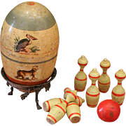 Early Wooden Egg with Bowling Game