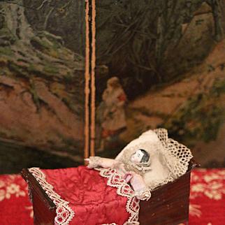 Attic Found Rare Cradle with original Doll by Lutz