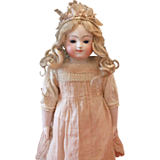 Rare French Bisque Taufling Doll By Jules Steiner With Bisque Limbs