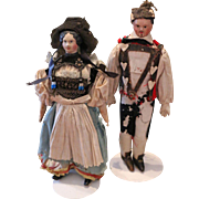*Attic Found* Early German Paper-Mache Couple