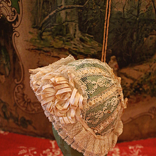 Lovely Antique French Lace Bonnet