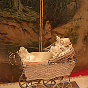 Lovely Antique Doll Carriage/ Stroller with little Baby