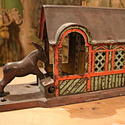 Antique Mule Entering Barn Mechanical Bank J. & E Stevens 1880
