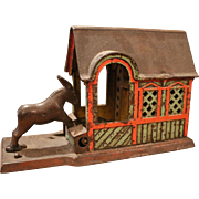 Antique Mule Entering Barn Mechanical Bank J. & E Stevens 1880