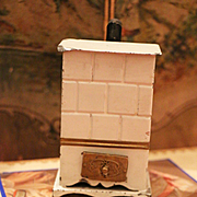 Antique German Dollhouse  Cream Tin Stove