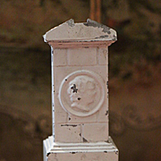 Antique German Dollhouse Cream Enamel Tin Parlor Stove