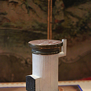 Antique Dollhouse Round Cream Enamel Tin Parlor Stove Mid 1800s