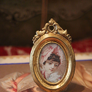Antique German Dollhouse Ormolu Picture Frame by Erhard & Söhne