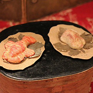 Two Antique Dinner Plates with Food