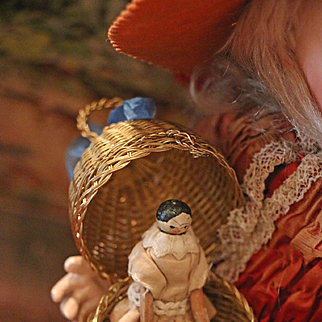 Lovely Small Grödner Wooden Doll in Egg