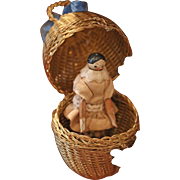 Lovely Small Grödner Wooden Doll in Egg