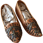 Pair of Early Folk Leather Shoes