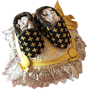 Pair of Rare Tapestry Slippers for Dolls