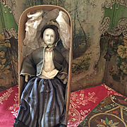 Early Paper Mache Head doll for French Marked