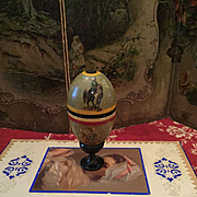 Rare Wooden Miniature Bowling Game in Egg