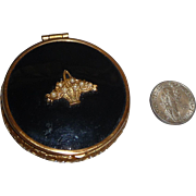 Vintage Mini Powder Rouge Compact Black & Gold with Basket Escutcheon & Faux Pearls Mint