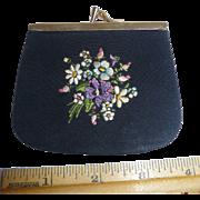 Gorgeous! Vintage Petit Point Black Silk Leather Lining Coin Purse Pristine