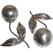 Pair Silver Figural Realistic Cherries Salt Pepper shakers