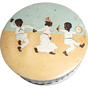 Rare Vintage Black American Powder or Soap Box 3 Dancing Figures