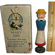 Vintage Painted Folk Art Wood Wooden Figural Girl Lady Needle Holder Case with Original Box