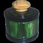 Green, Black and Cream Corn Deco Style Bakelite Ring Trinket Jewelry Powder Vanity Box