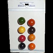 8 Different Colors BAKELITE BALL BUTTONS Ultra Kraft Card