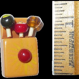 Rare Martha Sleeper Figural Crayon Match or Lollipop Button