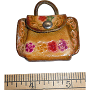 Figural Tooled Leather Button Small Doll Size Purse Opens
