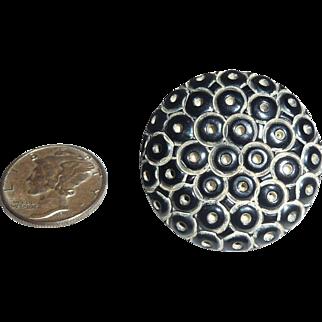 Black Bakelite Button Heavy Carved Octopus Sucker