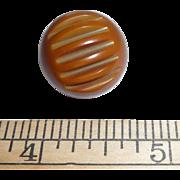 Large Vintage Bakelite Ball Button Olive Green Deco Carved