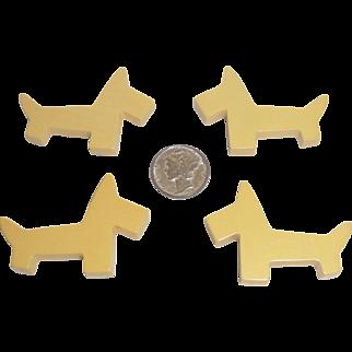 4 Vintage Bakelite Realistic Cream Corn Scotty Scottie Dog Parts Pieces