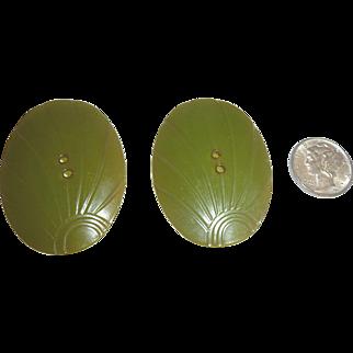 2 Extra Large Vintage Bakelite Buttons Oval Sunburst